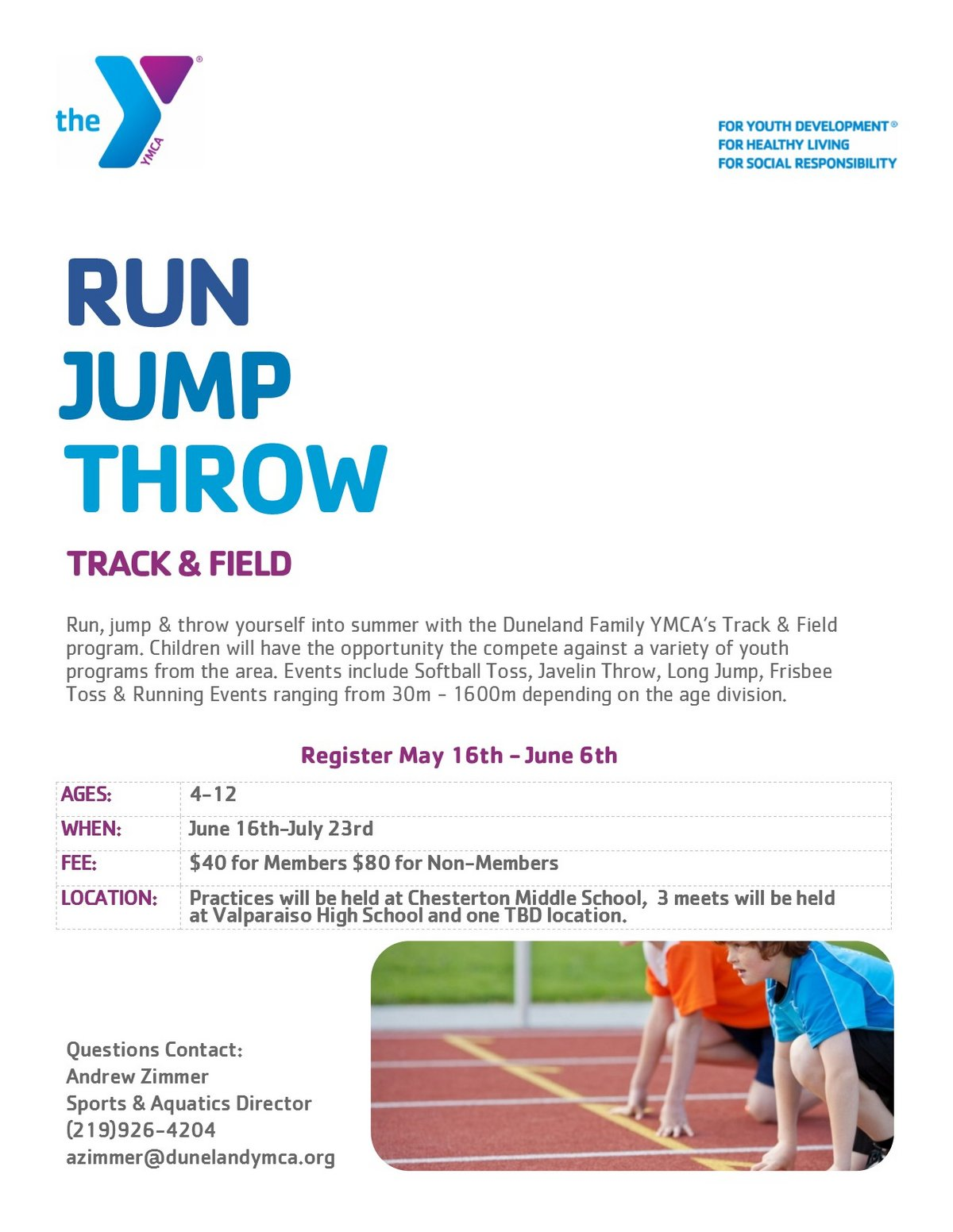 Duneland Y Offers Youth Track & Field This Summer