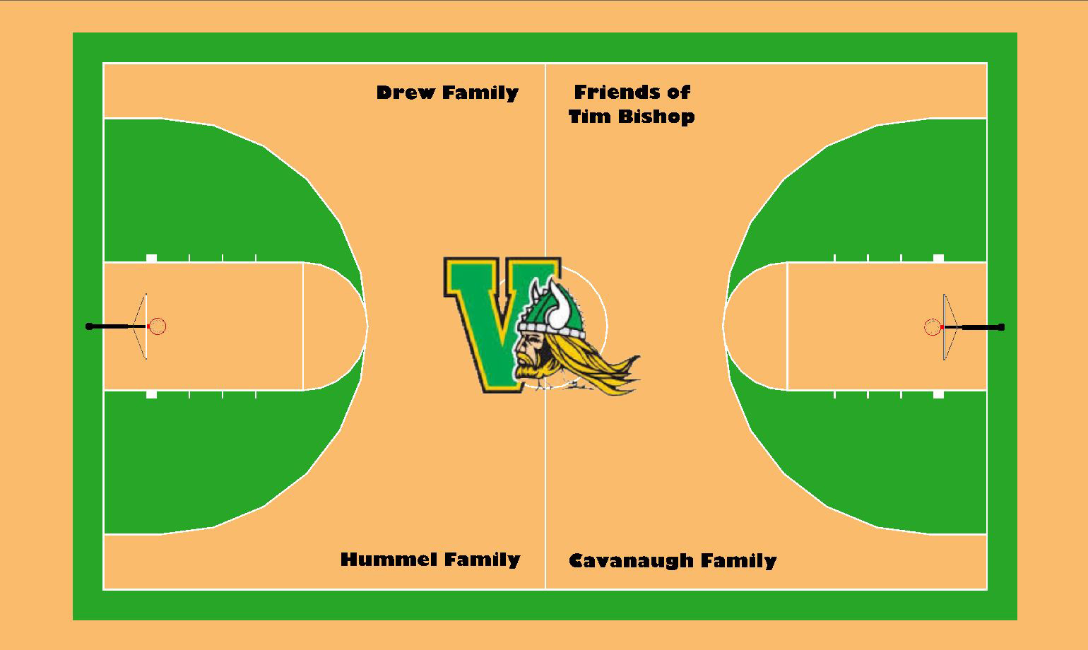 Drew, Bishop, Hummel, and Cavanaugh Families Gift New VHS-Themed Court to Valpo Parks