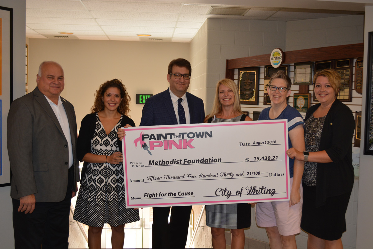 """City of Whiting's 2016 """"Paint the Town Pink"""" Initiative Raises $15,460.21 for Methodist Foundation, Breast Health/Cancer Initiatives"""