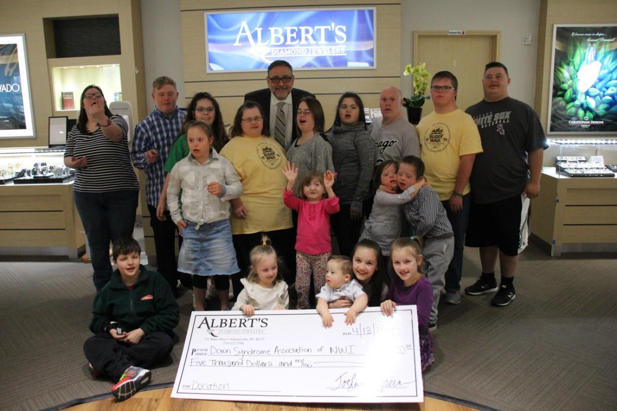 Albert's Diamond Jewelers Donates to Down Syndrome Association