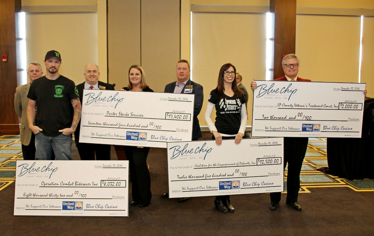 Blue Chip Casino Donates Nearly $40K To Veterans Groups And Programs That Help Battle PTSD