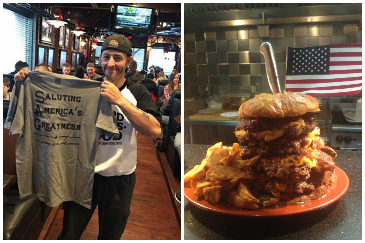 Participant Completes Industrial Revolution Challenge Burger in 2016