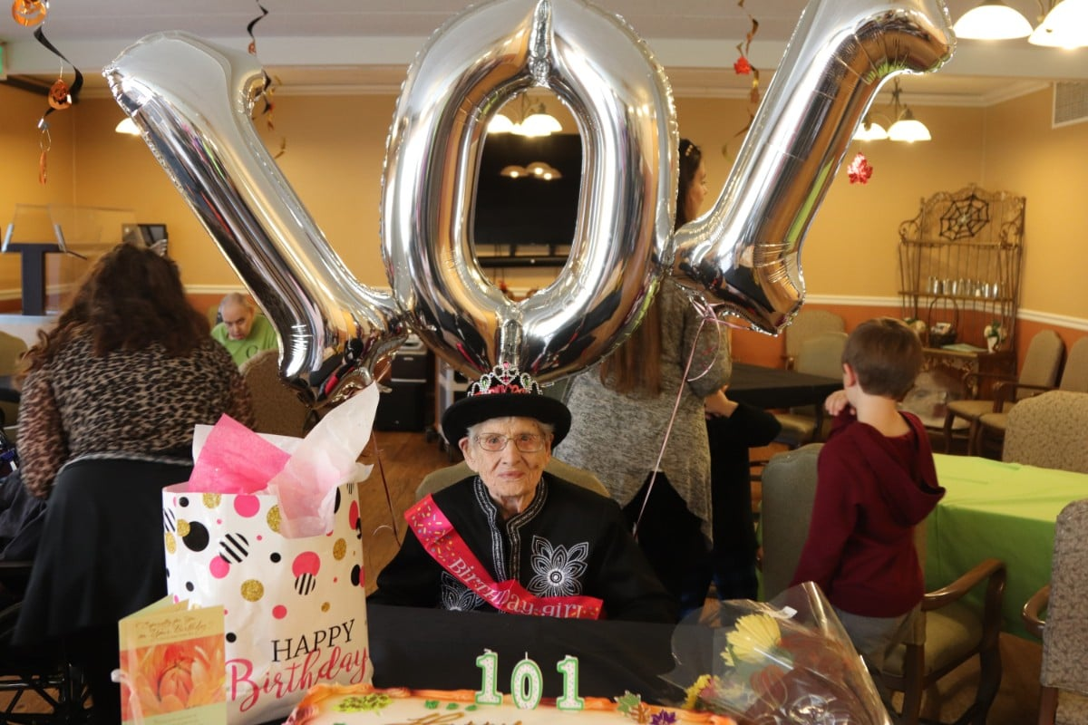Life Care Center of the Willows Celebrates Resident Flossie Thomason's 101st Birthday with Family and Friends
