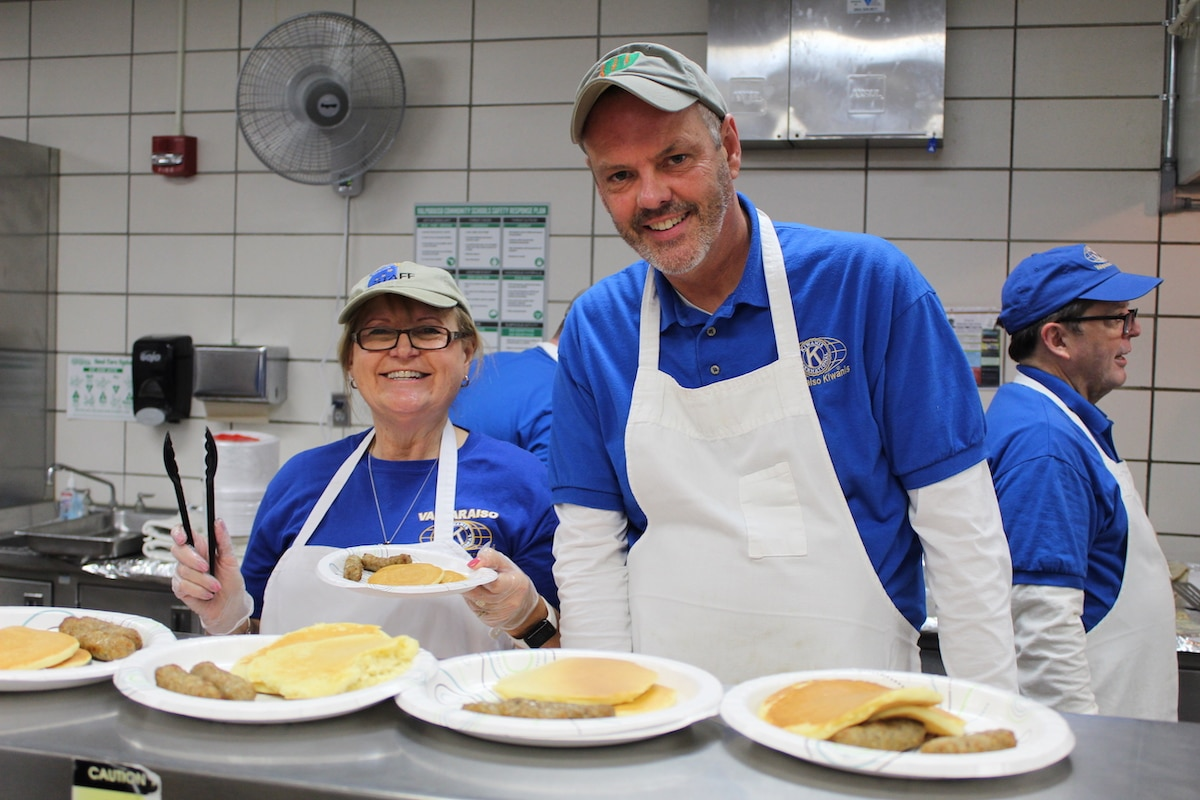 Valparaiso Noon Kiwanis Club Brings the Community Together for Pancake Breakfast Day