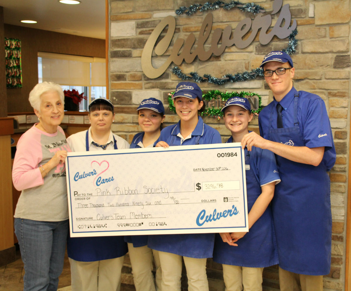 Culver's Presents $3,296 Check to The Pink Ribbon Society